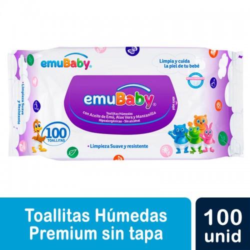 TOALLAS HUMEDAS EMUBABY SIN TAPA 100 UNIDADES